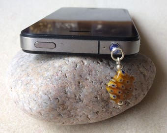 Yellow millefiori glass star dust plug phone tablet dangle charm Handmade