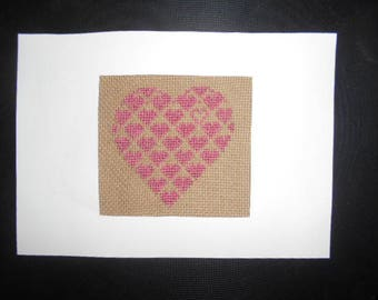 Large embroidered hand on canvas - heart of hearts card
