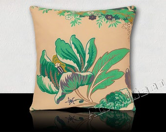 Cushion square large flower turquoise/white/jade/purple Peony on an ecru background
