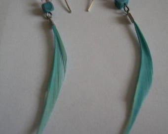 Pearl Earrings and blue feathers