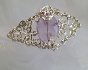 Silver plated non tarnish, wirework cuff.