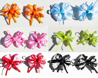 SET OF 6 BIG RIBBON BOW POLKA DOT WHITE BARRETTE HAS HAIR SCRAPBOOKING SEWING