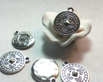 Set of 5 pendants sequins ☆ / Platinum/16 mm☆