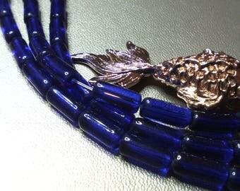 Navy ☆lot 10 blue glass tube beads, 10 x 6 mm☆