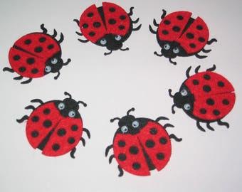 Set of 6 felt red and black ladybugs embellishments