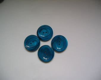Teal set of 4 round buttons 2 holes
