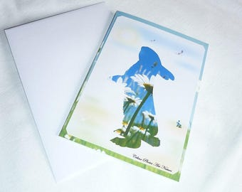 """Double hand made card """"Bunny love"""" 10.5x15cm from a photograph of a field of daisies."""