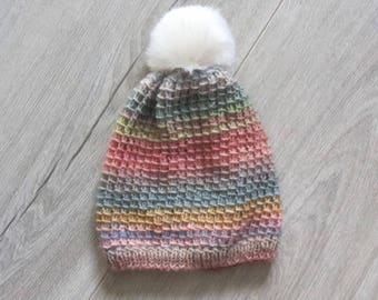 Hat knitted in bamboo stitch for 3/5 year old - fall/winter 2017
