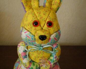 Rabbit dressed in patchwork fabrics styrofoam