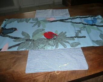 bag pie blue birds with wood handles