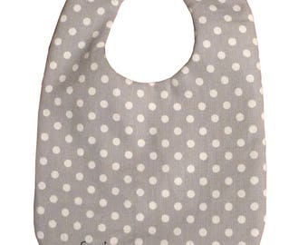 Grey magnetic bibs with white polka dots 3-24 months