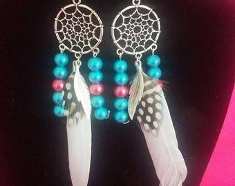 Earrings dangle fancy Fuchsia turquoise white feather dream catcher