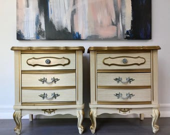 Vintage White/Gold French Provincial Nightstand [Complete Set]