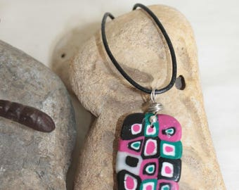 Necklace and earrings Domino Fuschia pink black white and green dishes pattern large polymer clay