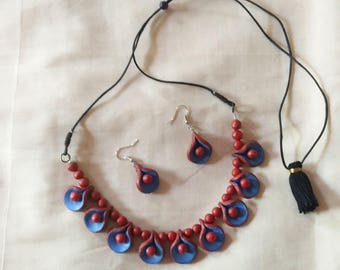 Blue and Orange- rare combination-necklace with matching earrings-Indian jewelry-terracotta jewelry-polymer clay jewelry