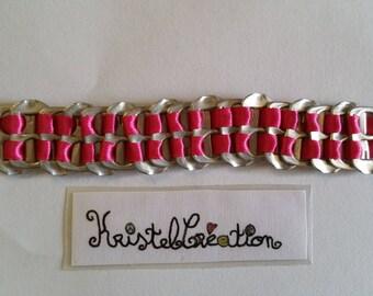 Bobbin Mod2 and Satin Pink Ribbon bottle cap bracelet