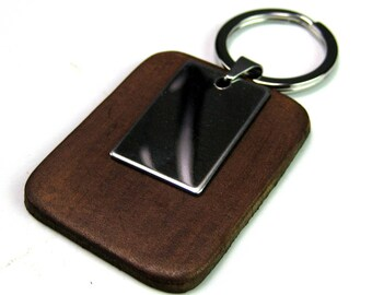Keychain leather and stainless steel N3631
