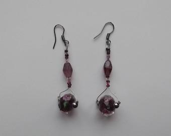 Lampwork beads and precious turf beads Hematite Silver earrings