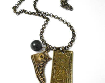 Mens brass Born necklace in the USA
