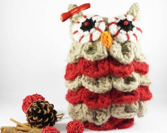 Gufetta red-beige doorstop made crochet-doorstop-OWL-crochet
