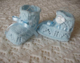 Baby BOOTIES baby or reborn wool, hand knitted, blue, birth gift @100 dreams-sweetness