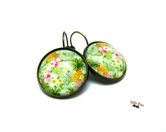 Earrings Tropical vintage glass dome