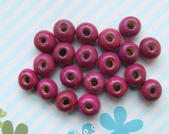 Lot 18 diameter approximately 10mm purple wooden beads