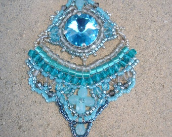 """Mediterranean"" Crystal and glass with chain necklace"