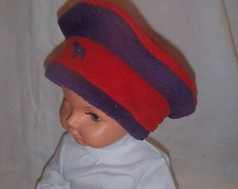 Fleece winter hat (baby - toddler up to 4 years) red and purple