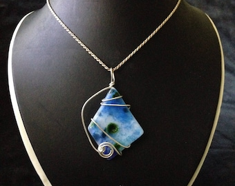 Wire-wrapped Dichroic Glass Pendant on Silver Chain