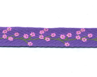 Fancy Violet Purple with flowers C90 twill tape