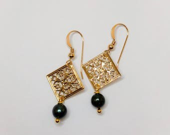 Gold Square Filigree Earrings with Pearls.