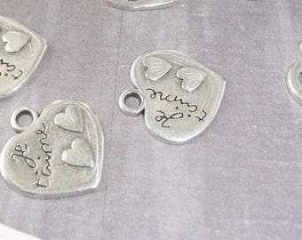 2 x silver charms silver message heart I love you