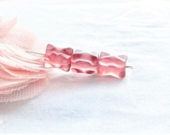10 beads glass Czech bead Czech glass, Pink Purple iridescent rectangle shape