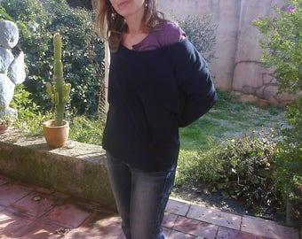 Black sweatshirt fleece quality deconstructed mid-length sleeves