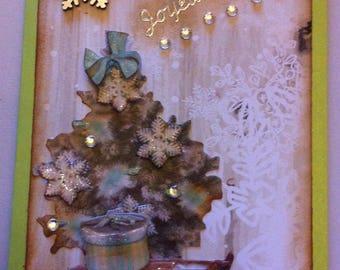 Christmas, 3D, vintage, tree, green base card