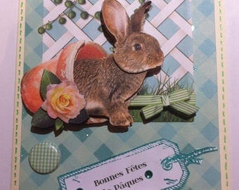 Card 3D Easter Bunny in her flower pot
