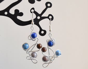 Blue, Brown and grey Pearl Earrings