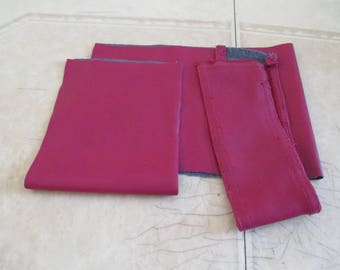 set of 4 pieces of faux leather Burgundy fabric