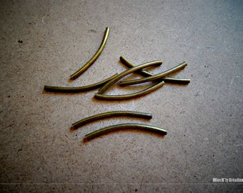 Set of 20 beads curved metal bronze