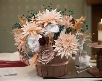 Dahlia & Gardenia Paper Floral Arrangement