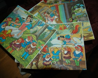 Vintage building blocks various scenes from Disney Snow White 1960s