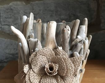 Driftwood Candle holder/T-Light holder/Wedding decoration/home decoration/ Shabby Chic Driftwood design/ Hessian flowers.
