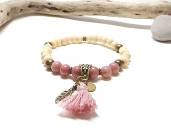 Raw wood Beads Bracelet natural and pink rhodochrosite
