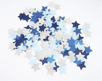 Blue stars confetti - party birthday boy - birthday - wedding decoration - baby shower - baby boy