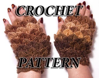 PATTERN Dragon Scale Fingerless Gloves, Crocodile Gloves, Instant Download, DIY