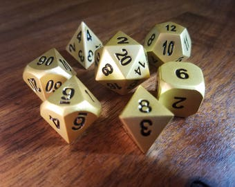 Dungeons and Dragons Dice Set - Gold - dnd gift ideas Metal Dice set rpg d&d dice d20 RPG Role Playing Dice by Dice Envy