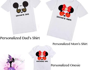 Mickey Mouse and Minnie Mouse Personalized Matching Family T-Shirts | 1st Birthday Party Keepsake | Designer Inspired