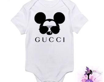 Mickey Mouse with Aviator Sunglasses Baby Onesie Babyshower Gift | First Birthday | Onesie for Boys | Girls | Designer Inspired