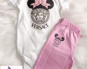 Two Piece  Minnie Mouse Baby Girl Set | Designer Inspired| Onesie & Pants| Pink Outfit